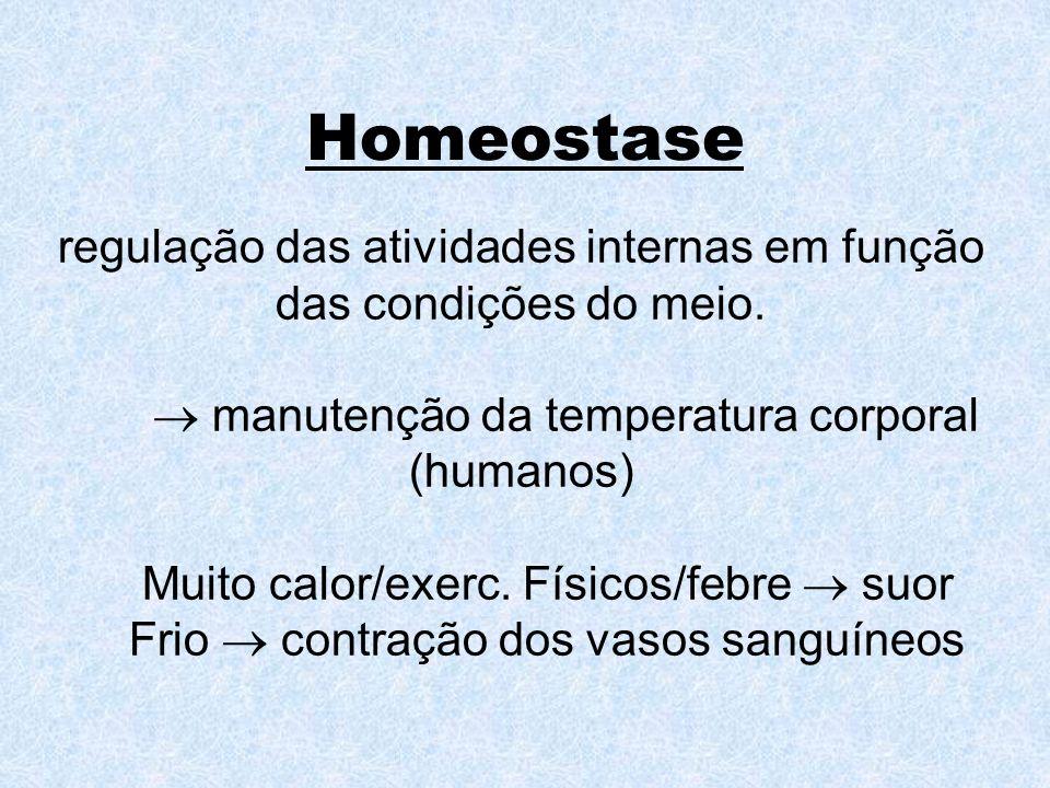 Homeostase regulação das atividades internas em função das condições do meio. manutenção da temperatura corporal (humanos) Muito calor/exerc. Físicos/