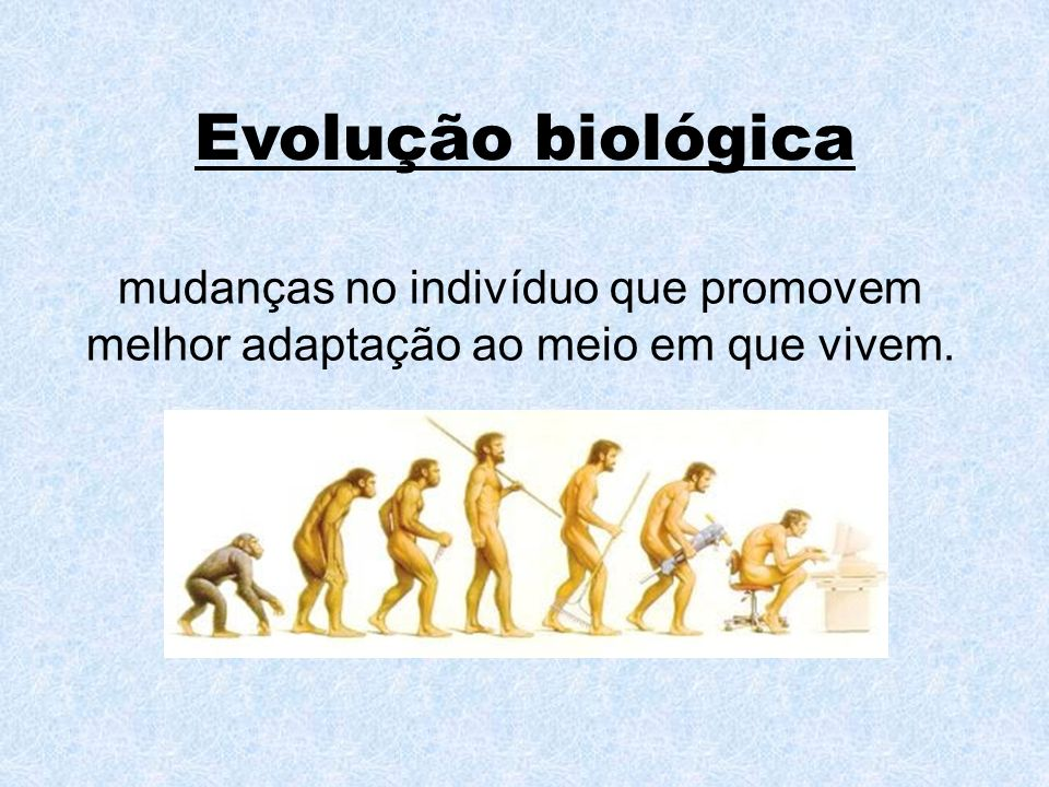 Evolução biológica mudanças no indivíduo que promovem melhor adaptação ao meio em que vivem.