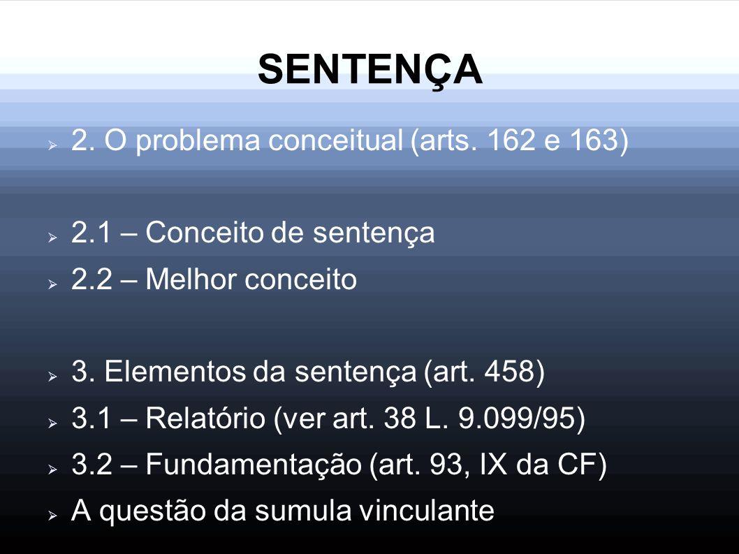 SENTENÇA 2. O problema conceitual (arts. 162 e 163) 2.1 – Conceito de sentença 2.2 – Melhor conceito 3. Elementos da sentença (art. 458) 3.1 – Relatór