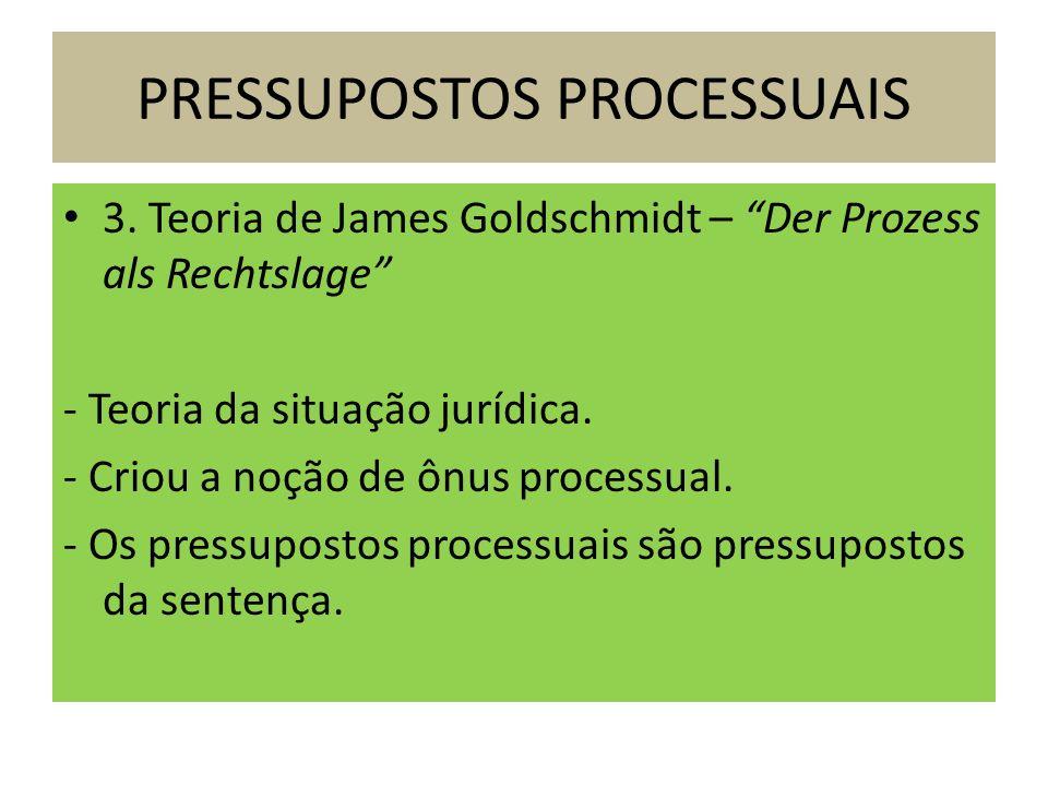 3. Teoria de James Goldschmidt – Der Prozess als Rechtslage - Teoria da situação jurídica. - Criou a noção de ônus processual. - Os pressupostos proce