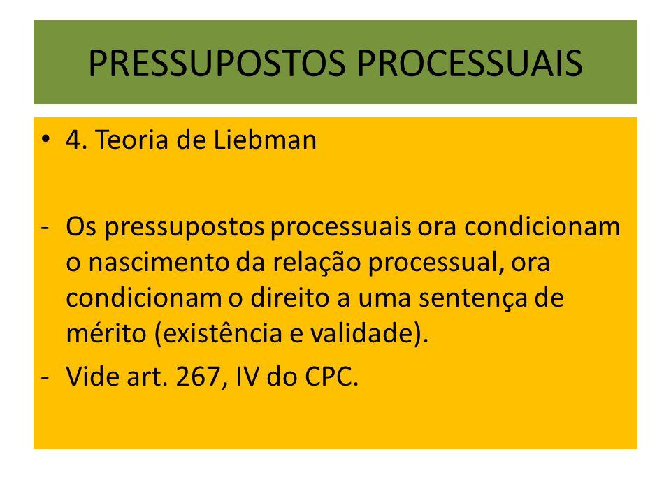 PRESSUPOSTOS PROCESSUAIS 4. Teoria de Liebman -Os pressupostos processuais ora condicionam o nascimento da relação processual, ora condicionam o direi