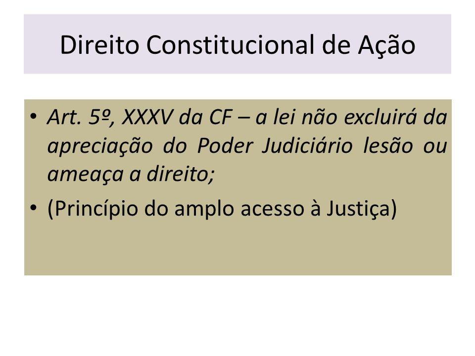 Direito Constitucional de Ação Art. 5º, XXXV da CF – a lei não excluirá da apreciação do Poder Judiciário lesão ou ameaça a direito; (Princípio do amp