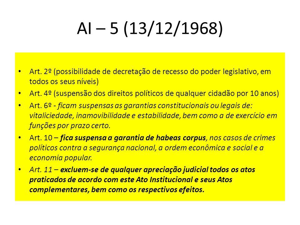 AI – 5 (13/12/1968) Art. 2º (possibilidade de decretação de recesso do poder legislativo, em todos os seus níveis) Art. 4º (suspensão dos direitos pol