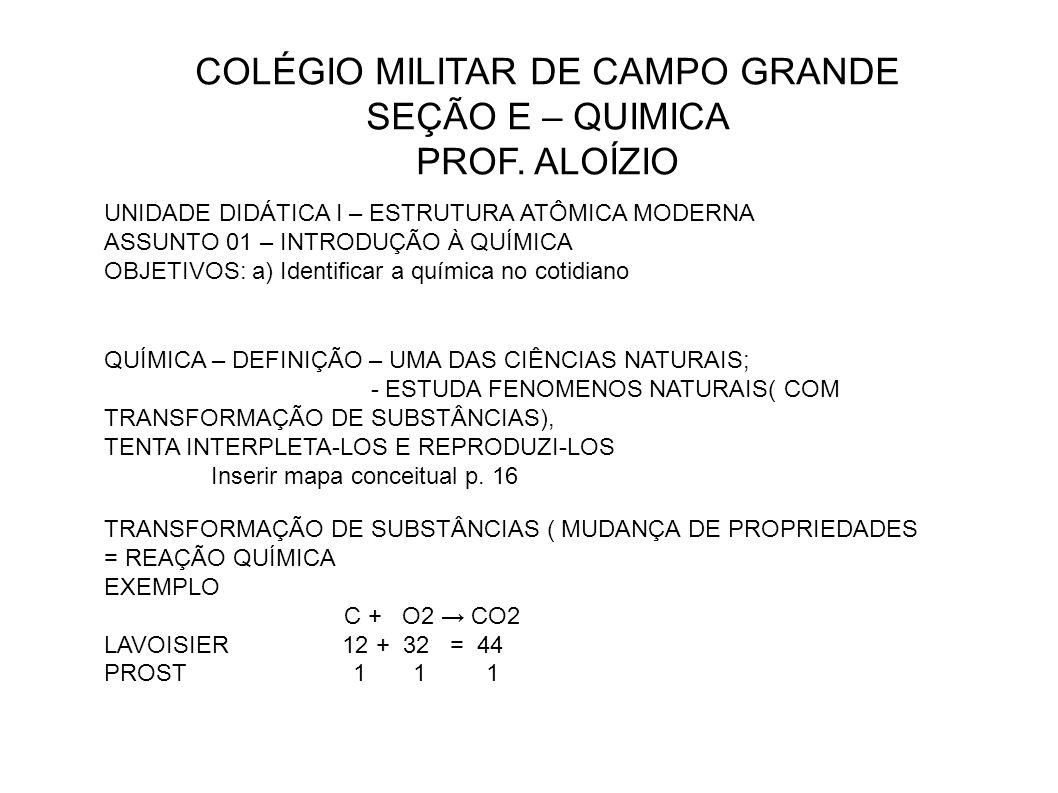 COLÉGIO MILITAR DE CAMPO GRANDE SEÇÃO E – QUIMICA PROF.