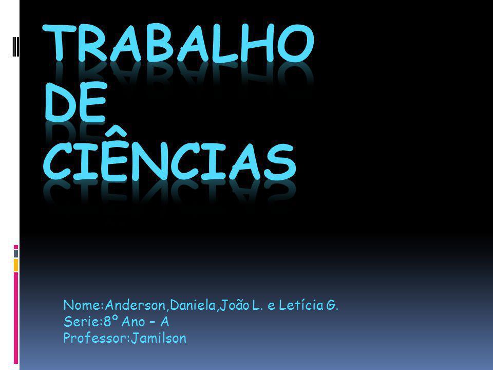 Nome:Anderson,Daniela,João L. e Letícia G. Serie:8º Ano – A Professor:Jamilson