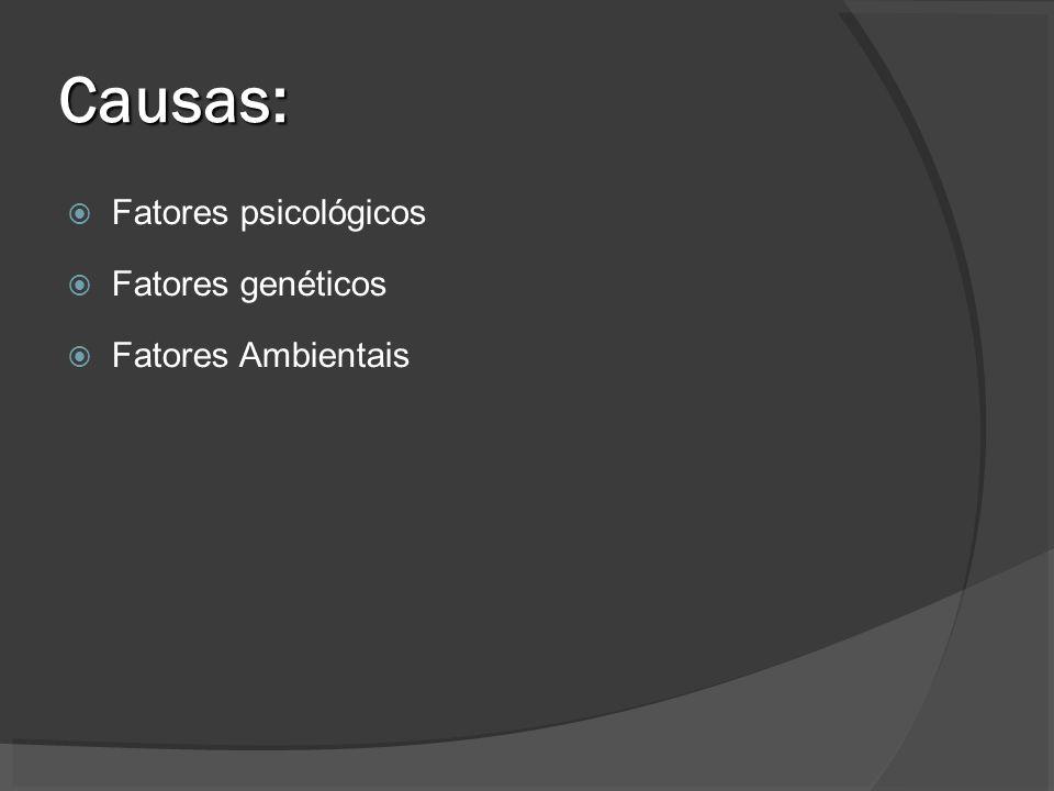Causas: Fatores psicológicos Fatores genéticos Fatores Ambientais