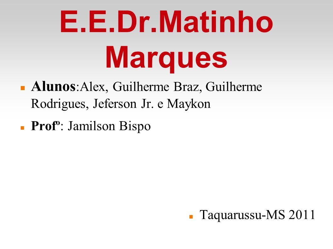 E.E.Dr.Matinho Marques Alunos :Alex, Guilherme Braz, Guilherme Rodrigues, Jeferson Jr.