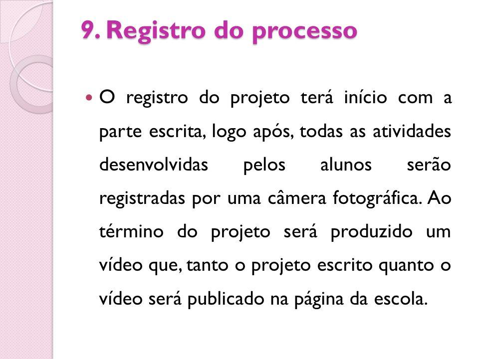 9. Registro do processo O registro do projeto terá início com a parte escrita, logo após, todas as atividades desenvolvidas pelos alunos serão registr