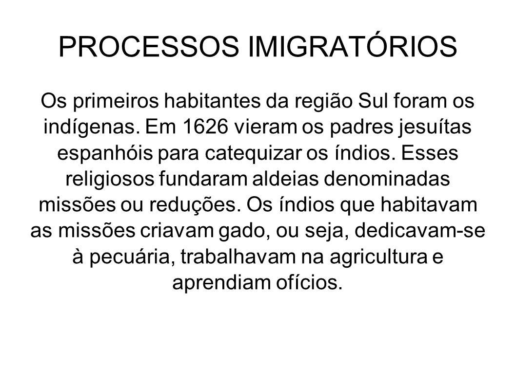 PROCESSOS IMIGRATÓRIOS Os primeiros habitantes da região Sul foram os indígenas. Em 1626 vieram os padres jesuítas espanhóis para catequizar os índios