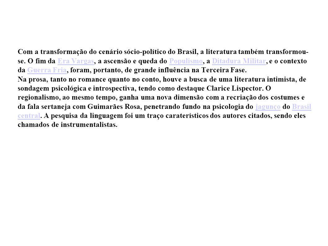 Com a transformação do cenário sócio-político do Brasil, a literatura também transformou- se. O fim da Era Vargas, a ascensão e queda do Populismo, a