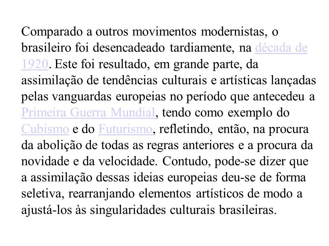 Comparado a outros movimentos modernistas, o brasileiro foi desencadeado tardiamente, na década de 1920. Este foi resultado, em grande parte, da assim