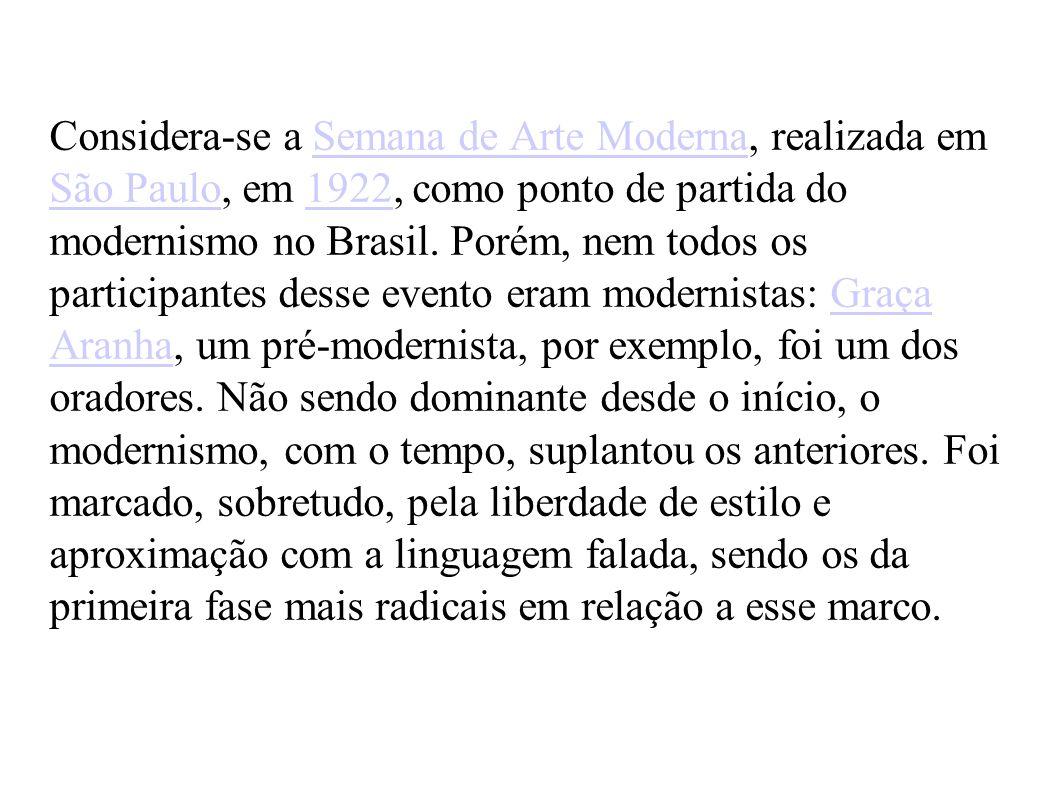 Considera-se a Semana de Arte Moderna, realizada em São Paulo, em 1922, como ponto de partida do modernismo no Brasil. Porém, nem todos os participant