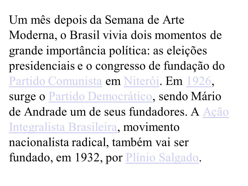 Um mês depois da Semana de Arte Moderna, o Brasil vivia dois momentos de grande importância política: as eleições presidenciais e o congresso de funda