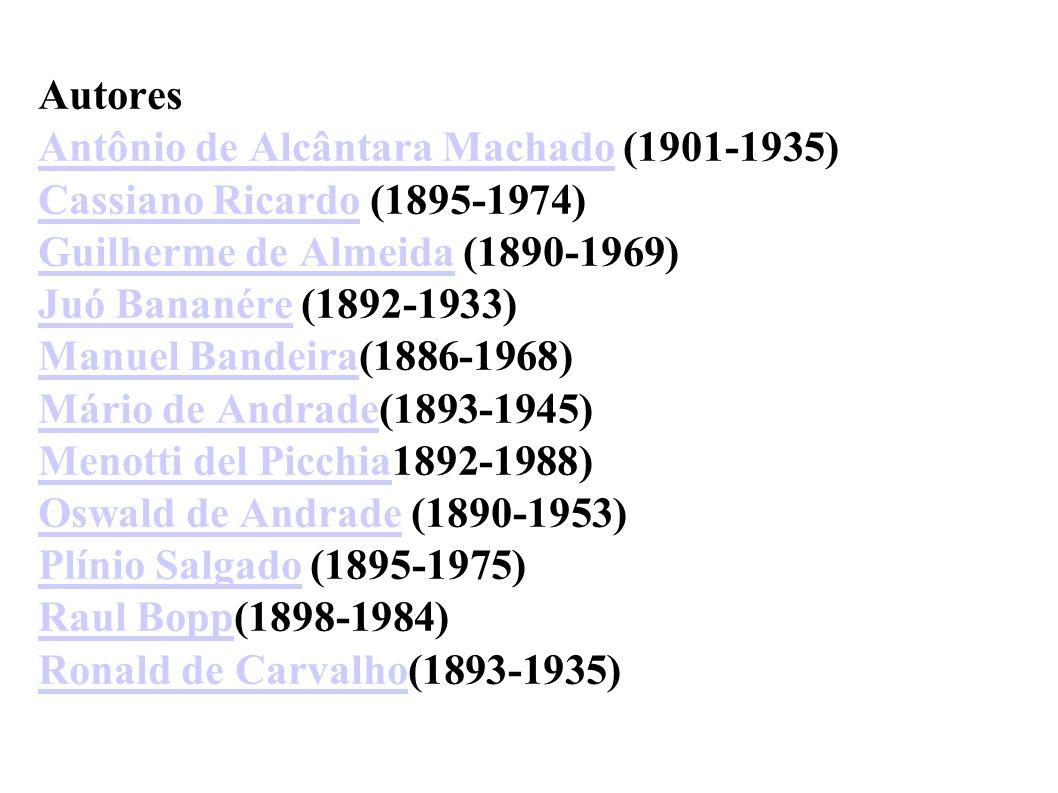 Autores Antônio de Alcântara Machado (1901-1935) Cassiano Ricardo (1895-1974) Guilherme de Almeida (1890-1969) Juó Bananére (1892-1933) Manuel Bandeir