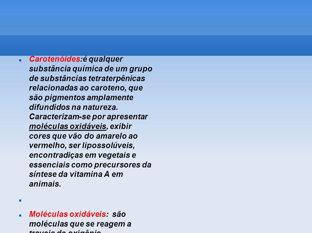 Carotenóides:é qualquer substância química de um grupo de substâncias tetraterpênicas relacionadas ao caroteno, que são pigmentos amplamente difundido