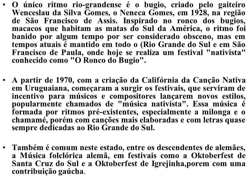 A partir de 1970, com a criação da Califórnia da Canção Nativa em Uruguaiana, começaram a surgir os festivais, que serviram de incentivo para músicos