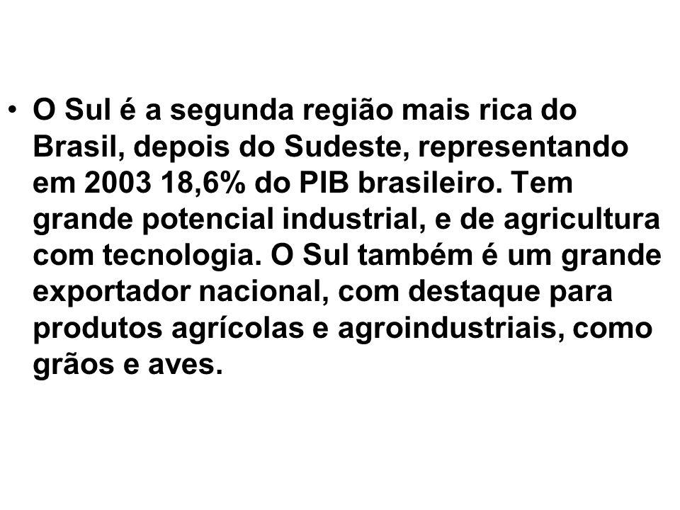 O Sul é a segunda região mais rica do Brasil, depois do Sudeste, representando em 2003 18,6% do PIB brasileiro. Tem grande potencial industrial, e de