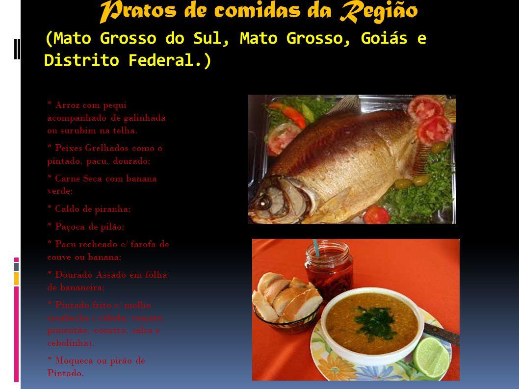 Pratos de comidas da Região (Mato Grosso do Sul, Mato Grosso, Goiás e Distrito Federal.) * Arroz com pequi acompanhado de galinhada ou surubim na telh