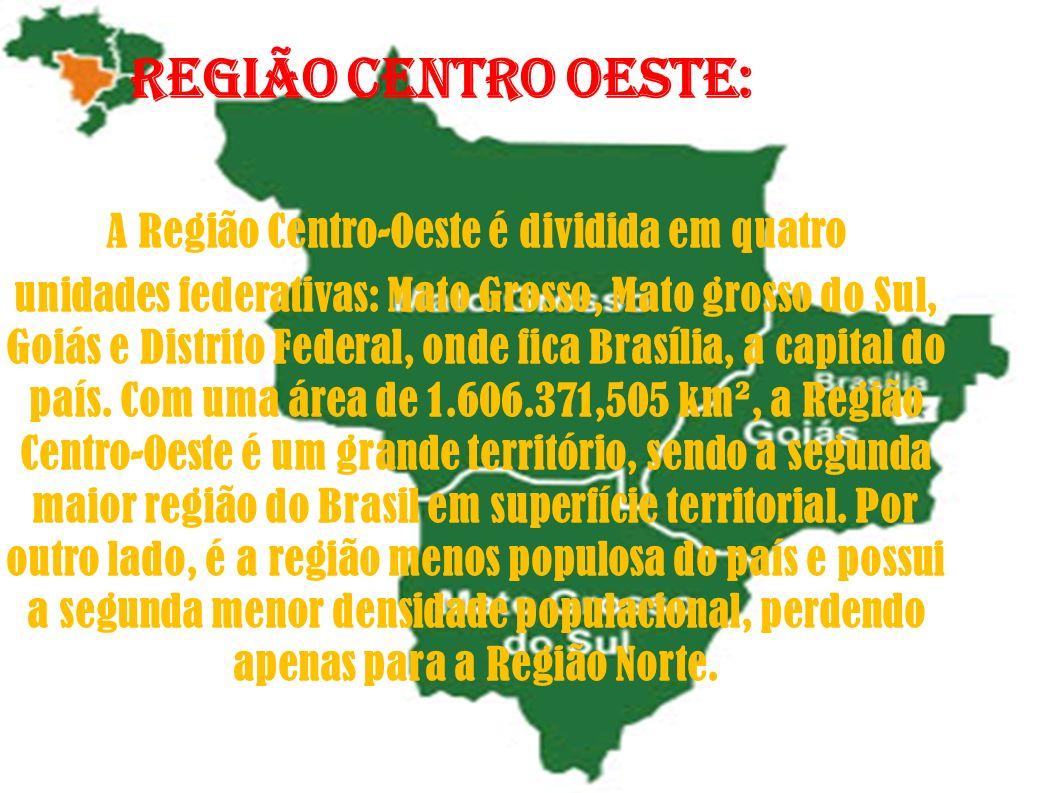 Região centro oeste: A Região Centro-Oeste é dividida em quatro unidades federativas: Mato Grosso, Mato grosso do Sul, Goiás e Distrito Federal, onde
