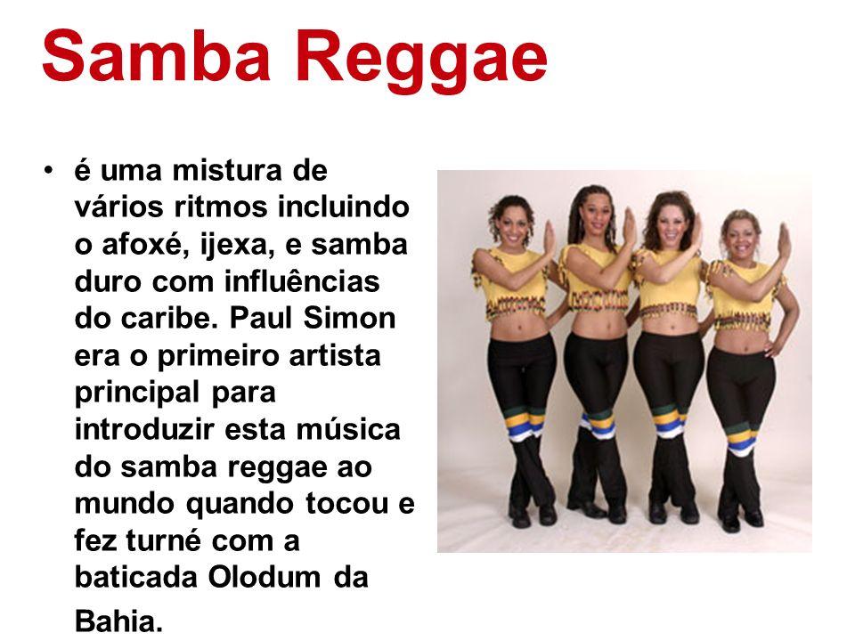 Samba Reggae é uma mistura de vários ritmos incluindo o afoxé, ijexa, e samba duro com influências do caribe. Paul Simon era o primeiro artista princi