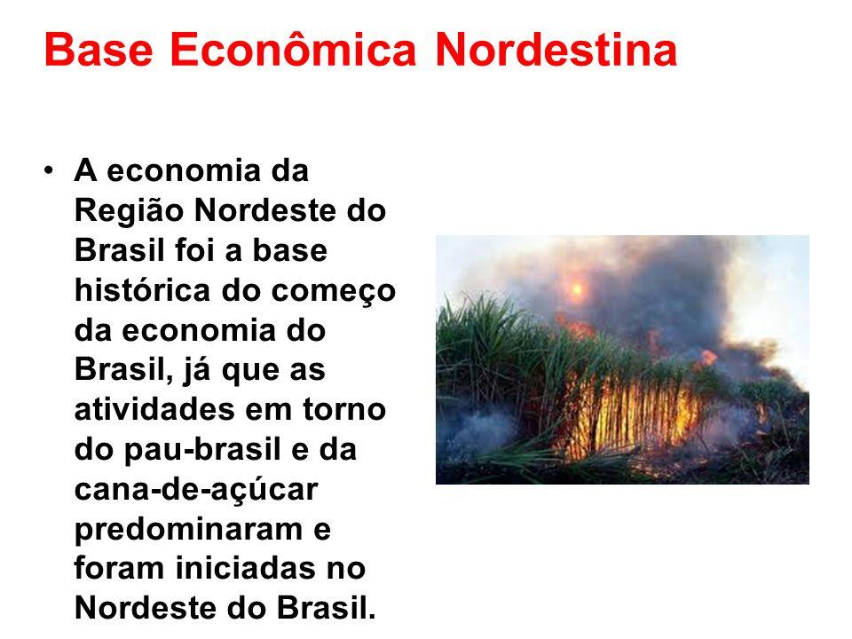 Base Econômica Nordestina A economia da Região Nordeste do Brasil foi a base histórica do começo da economia do Brasil, já que as atividades em torno
