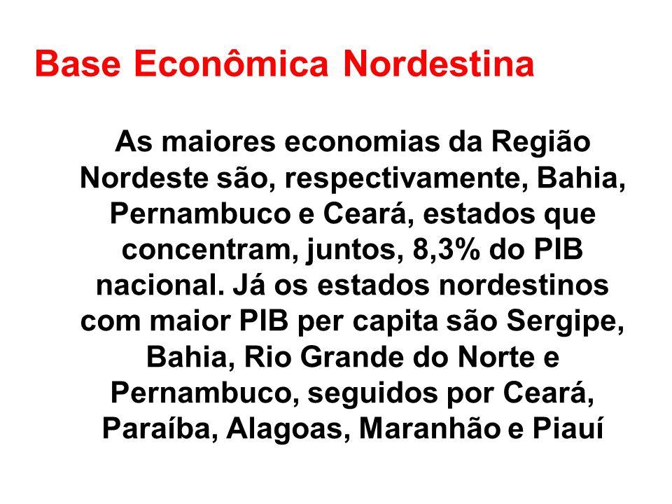 Base Econômica Nordestina As maiores economias da Região Nordeste são, respectivamente, Bahia, Pernambuco e Ceará, estados que concentram, juntos, 8,3