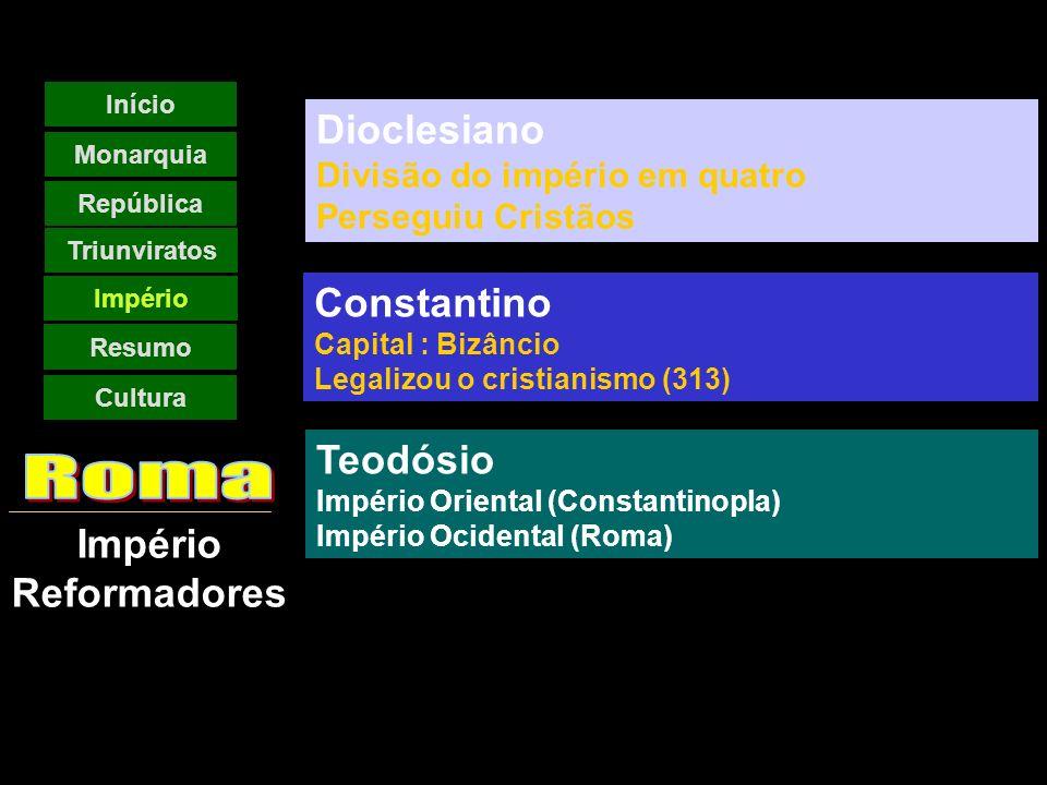 Império Reformadores Início Monarquia República Império Resumo Triunviratos Cultura Dioclesiano Divisão do império em quatro Perseguiu Cristãos Constantino Capital : Bizâncio Legalizou o cristianismo (313) Teodósio Império Oriental (Constantinopla) Império Ocidental (Roma)