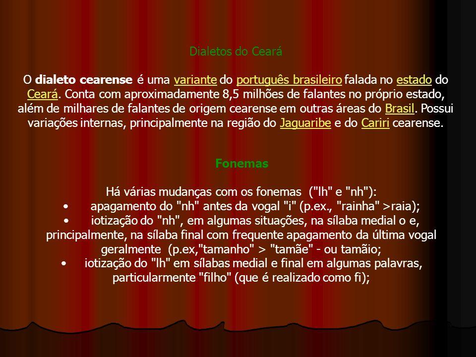 Dialetos do Ceará O dialeto cearense é uma variante do português brasileiro falada no estado do Ceará. Conta com aproximadamente 8,5 milhões de falant