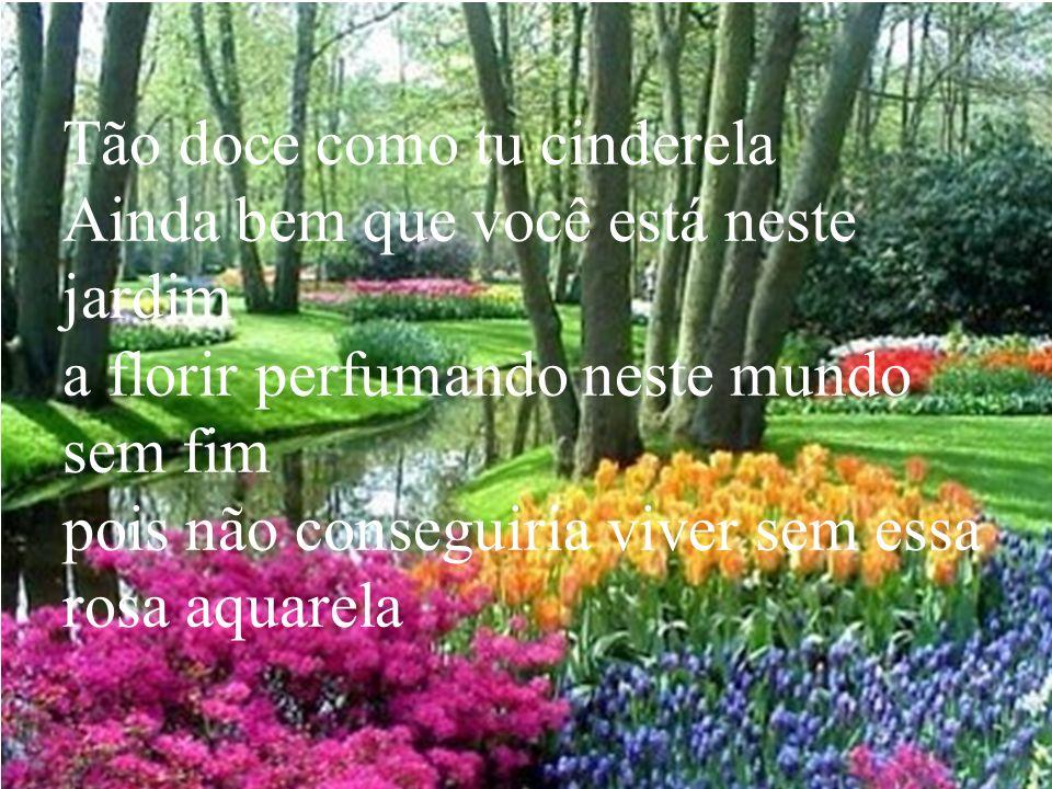 Tão doce como tu cinderela Ainda bem que você está neste jardim a florir perfumando neste mundo sem fim pois não conseguiria viver sem essa rosa aquar