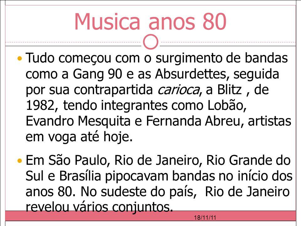 Musica anos 80 Tudo começou com o surgimento de bandas como a Gang 90 e as Absurdettes, seguida por sua contrapartida carioca, a Blitz, de 1982, tendo integrantes como Lobão, Evandro Mesquita e Fernanda Abreu, artistas em voga até hoje.