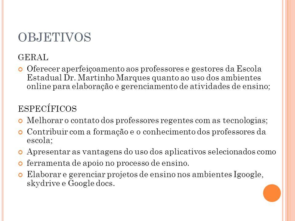 OBJETIVOS GERAL Oferecer aperfeiçoamento aos professores e gestores da Escola Estadual Dr.