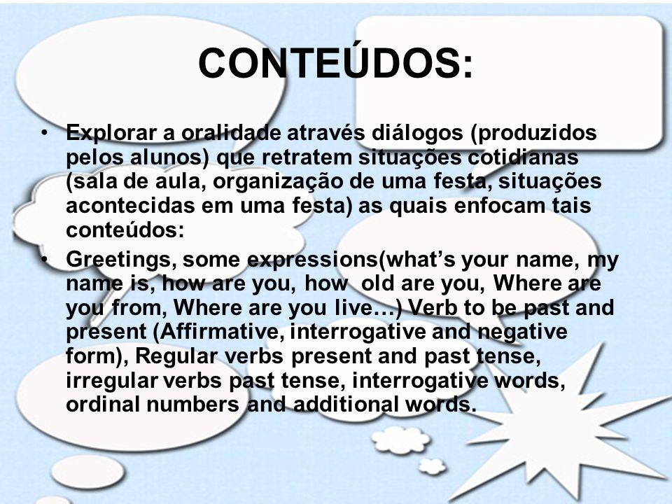 PROCEDIMENTOS METODOLÓGICOS 1º Momento: Conversa com os alunos para explicar sobre o projeto.