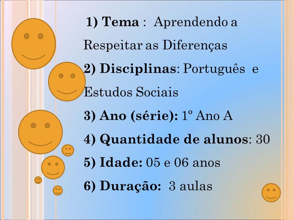 5) Objetivo: Levar os alunos a interpretar, escrever, ler,expressar as suas opiniões de maneira organizada e ter clareza de idéias, bem como ter novas atitudes de respeito aos colegas, respeitando as individualidades.