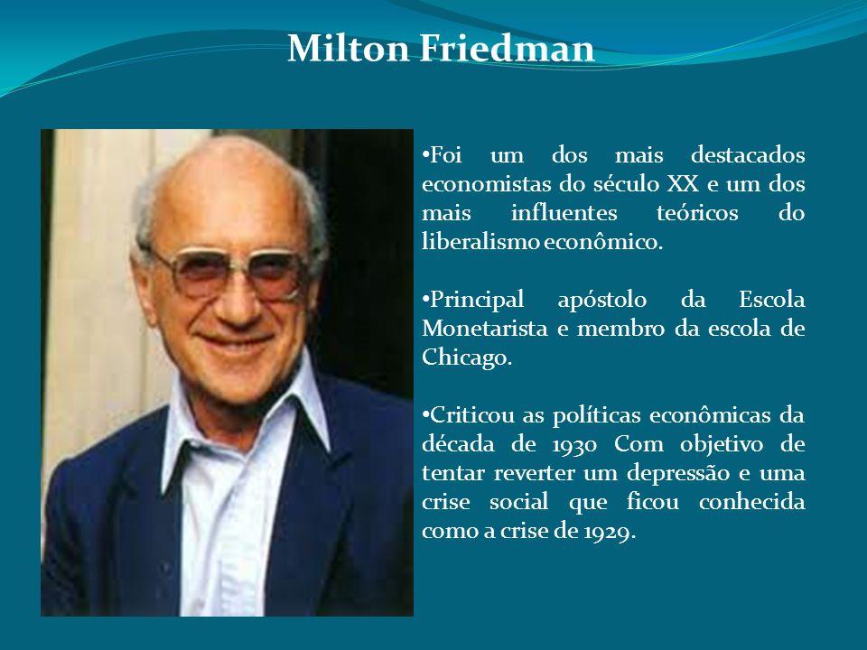 Foi um dos mais destacados economistas do século XX e um dos mais influentes teóricos do liberalismo econômico. Principal apóstolo da Escola Monetaris