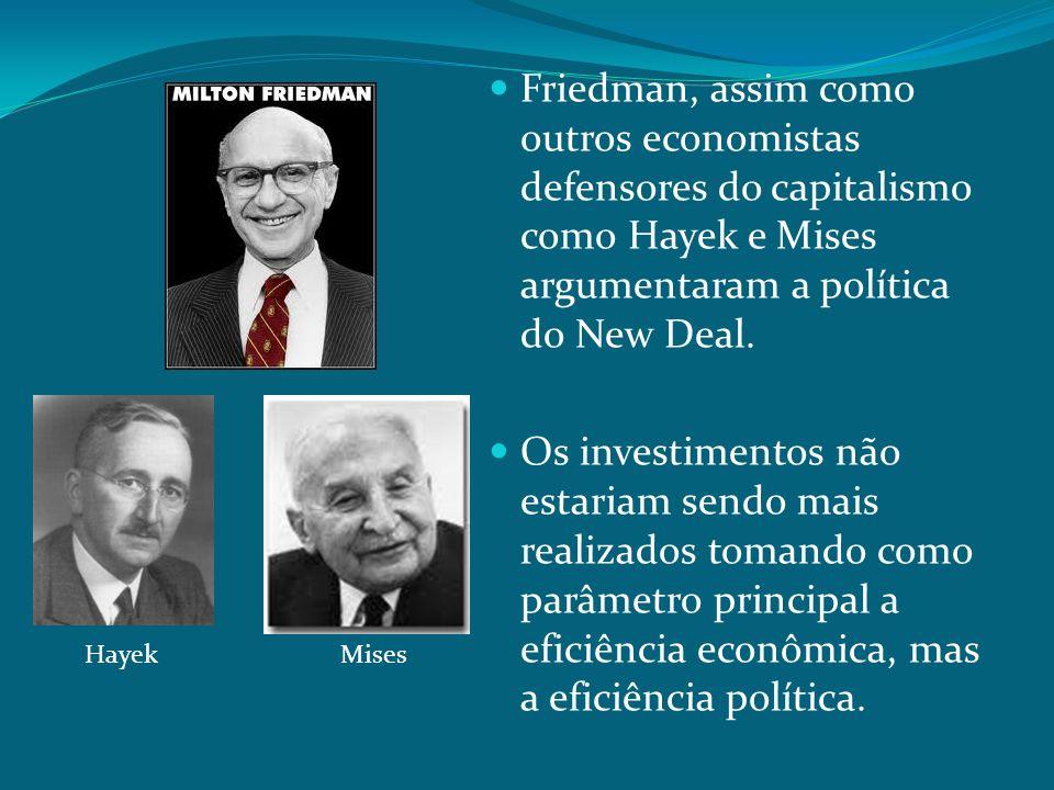 Friedman, assim como outros economistas defensores do capitalismo como Hayek e Mises argumentaram a política do New Deal. Os investimentos não estaria
