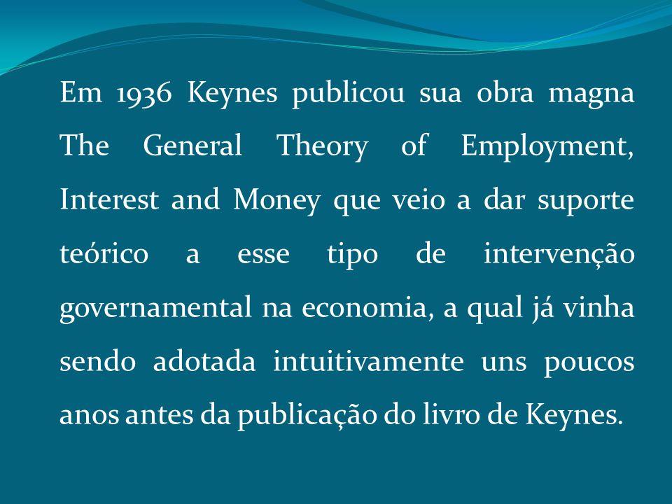 Em 1936 Keynes publicou sua obra magna The General Theory of Employment, Interest and Money que veio a dar suporte teórico a esse tipo de intervenção