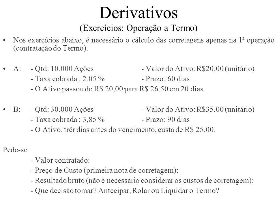 Derivativos (Exercícios: Operação a Termo) Nos exercícios abaixo, é necessário o cálculo das corretagens apenas na 1ª operação (contratação do Termo).
