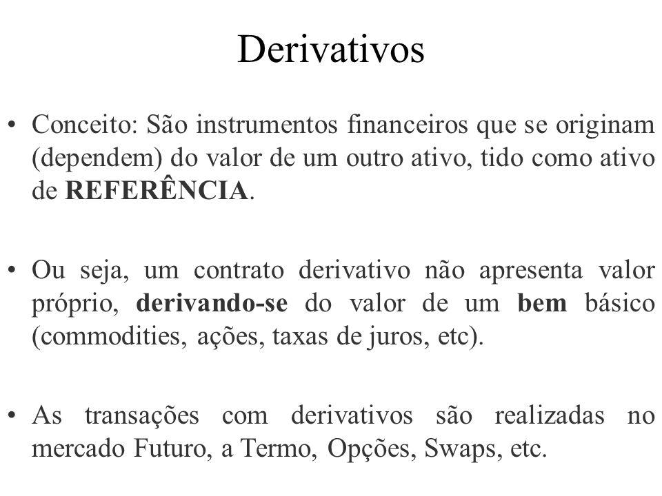 Derivativos Conceito: São instrumentos financeiros que se originam (dependem) do valor de um outro ativo, tido como ativo de REFERÊNCIA. Ou seja, um c