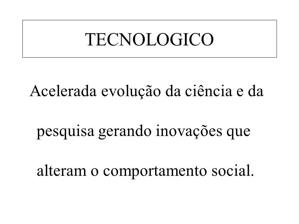 TECNOLOGICO Acelerada evolução da ciência e da pesquisa gerando inovações que alteram o comportamento social.