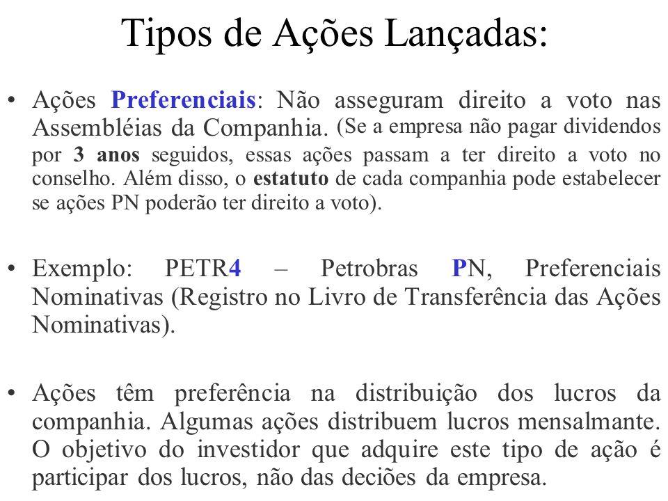 Tipos de Ações Lançadas: Ações Preferenciais: Não asseguram direito a voto nas Assembléias da Companhia. (Se a empresa não pagar dividendos por 3 anos