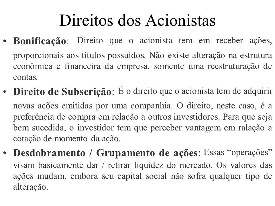 Direitos dos Acionistas Bonificação: Direito que o acionista tem em receber ações, proporcionais aos títulos possuídos. Não existe alteração na estrut