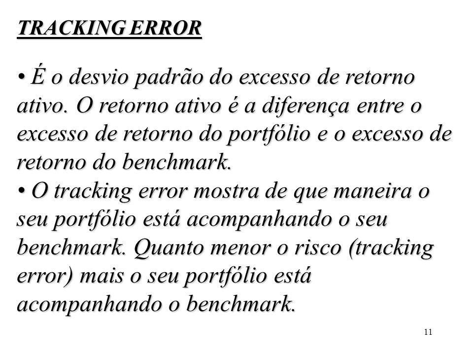 11 TRACKING ERROR É o desvio padrão do excesso de retorno ativo. O retorno ativo é a diferença entre o excesso de retorno do portfólio e o excesso de