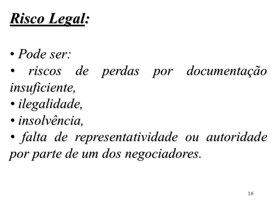 16 Risco Legal: Pode ser: riscos de perdas por documentação insuficiente, riscos de perdas por documentação insuficiente, ilegalidade, ilegalidade, in