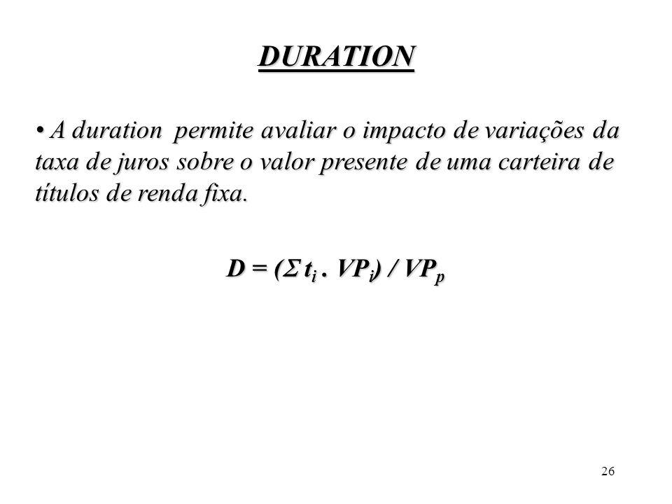 26 DURATION A duration permite avaliar o impacto de variações da taxa de juros sobre o valor presente de uma carteira de títulos de renda fixa. A dura