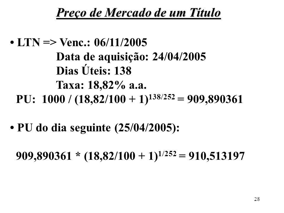28 Preço de Mercado de um Título LTN => Venc.: 06/11/2005 Data de aquisição: 24/04/2005 Dias Úteis: 138 Taxa: 18,82% a.a. PU: 1000 / (18,82/100 + 1) 1