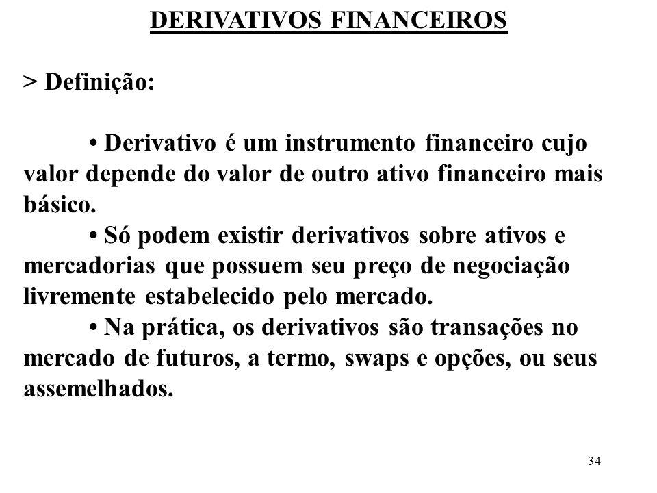 34 DERIVATIVOS FINANCEIROS > Definição: Derivativo é um instrumento financeiro cujo valor depende do valor de outro ativo financeiro mais básico. Só p