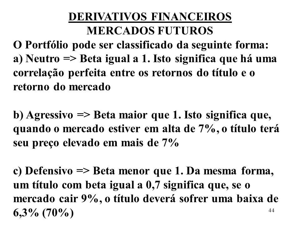 44 DERIVATIVOS FINANCEIROS MERCADOS FUTUROS O Portfólio pode ser classificado da seguinte forma: a) Neutro => Beta igual a 1. Isto significa que há um