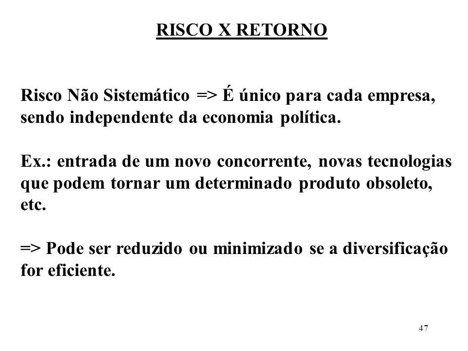 47 RISCO X RETORNO Risco Não Sistemático => É único para cada empresa, sendo independente da economia política. Ex.: entrada de um novo concorrente, n