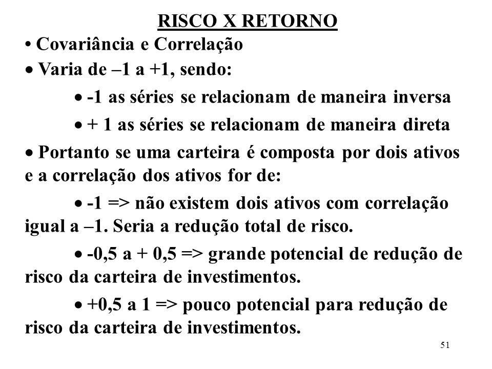 51 RISCO X RETORNO Covariância e Correlação Varia de –1 a +1, sendo: -1 as séries se relacionam de maneira inversa + 1 as séries se relacionam de mane