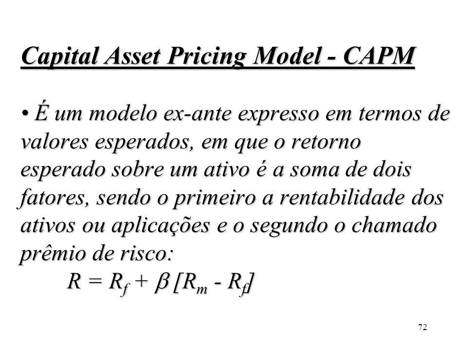72 Capital Asset Pricing Model - CAPM É um modelo ex-ante expresso em termos de valores esperados, em que o retorno esperado sobre um ativo é a soma d